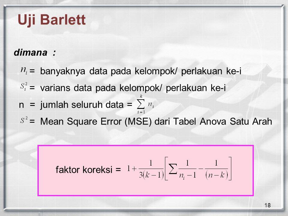 Uji Barlett dimana : = banyaknya data pada kelompok/ perlakuan ke-i