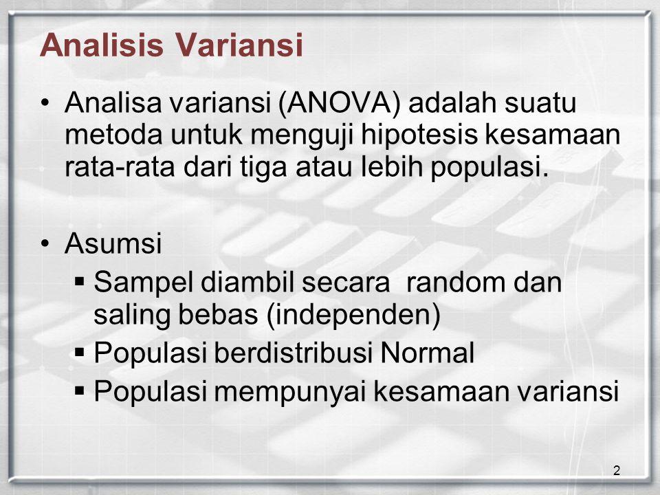 Analisis Variansi Analisa variansi (ANOVA) adalah suatu metoda untuk menguji hipotesis kesamaan rata-rata dari tiga atau lebih populasi.