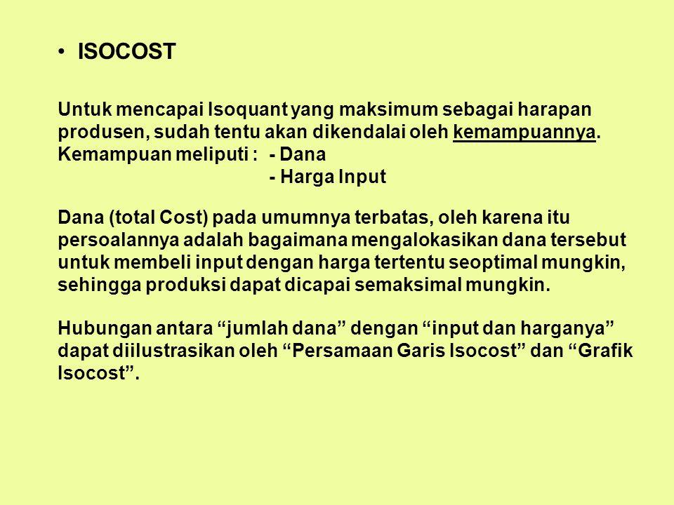 ISOCOST Untuk mencapai Isoquant yang maksimum sebagai harapan produsen, sudah tentu akan dikendalai oleh kemampuannya.