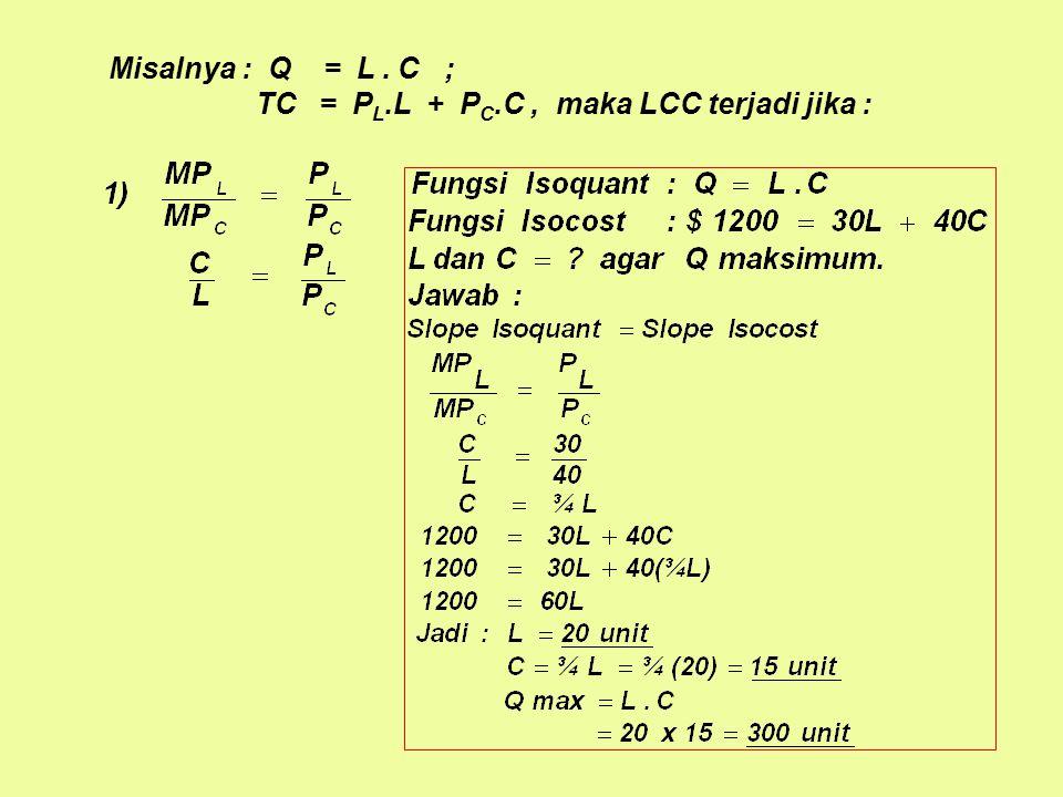 Misalnya : Q = L . C ; TC = PL.L + PC.C , maka LCC terjadi jika :