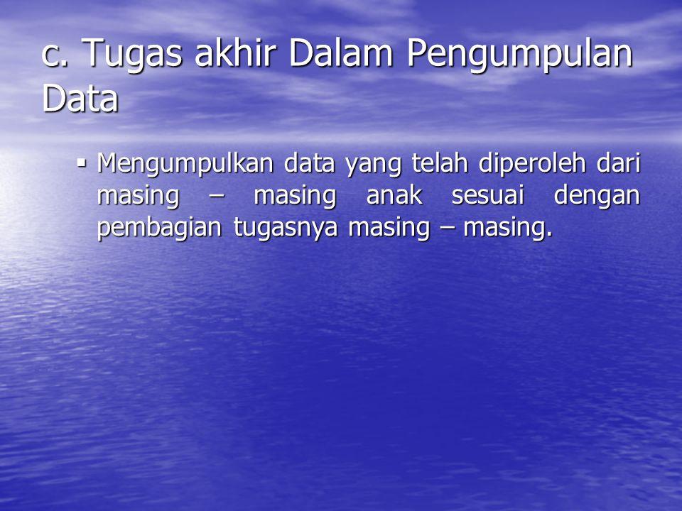 c. Tugas akhir Dalam Pengumpulan Data