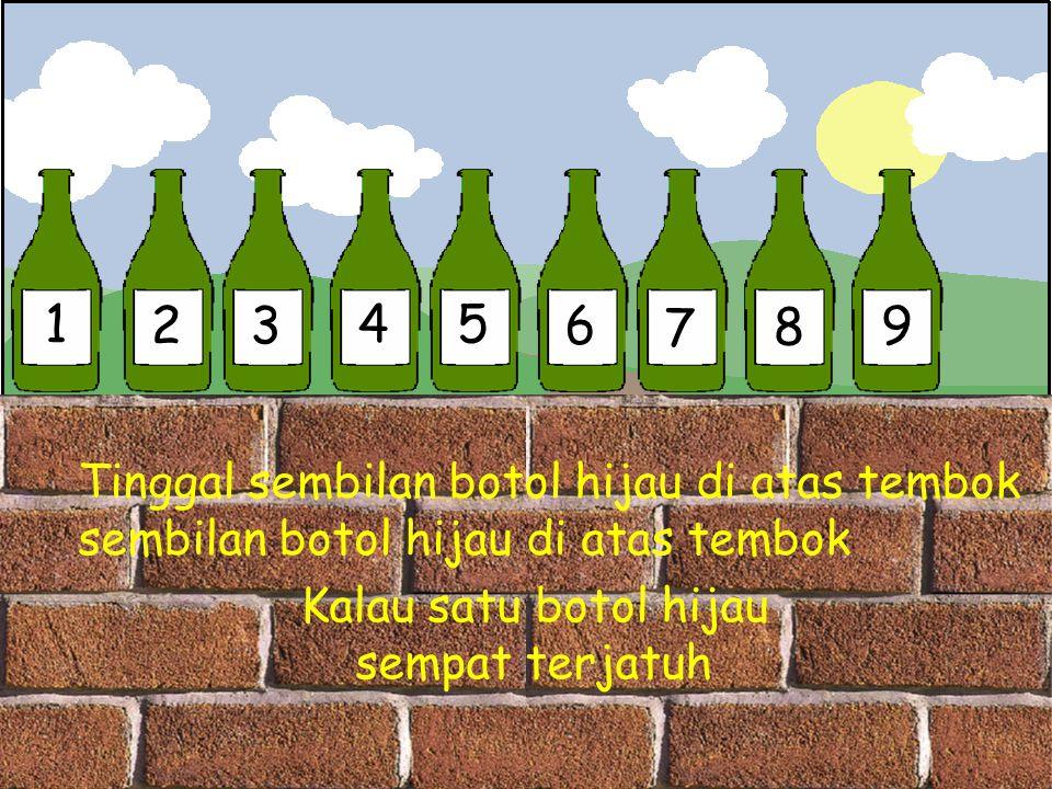 1 2 3 4 5 6 7 8 9 Tinggal sembilan botol hijau di atas tembok