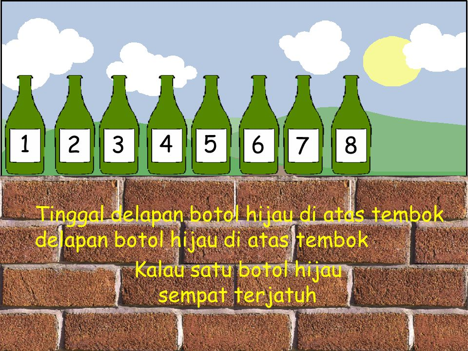 1 2 3 4 5 6 7 8 Tinggal delapan botol hijau di atas tembok