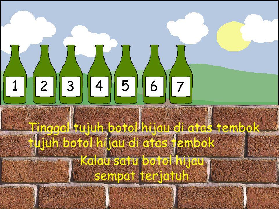 1 2 3 4 5 6 7 Tinggal tujuh botol hijau di atas tembok