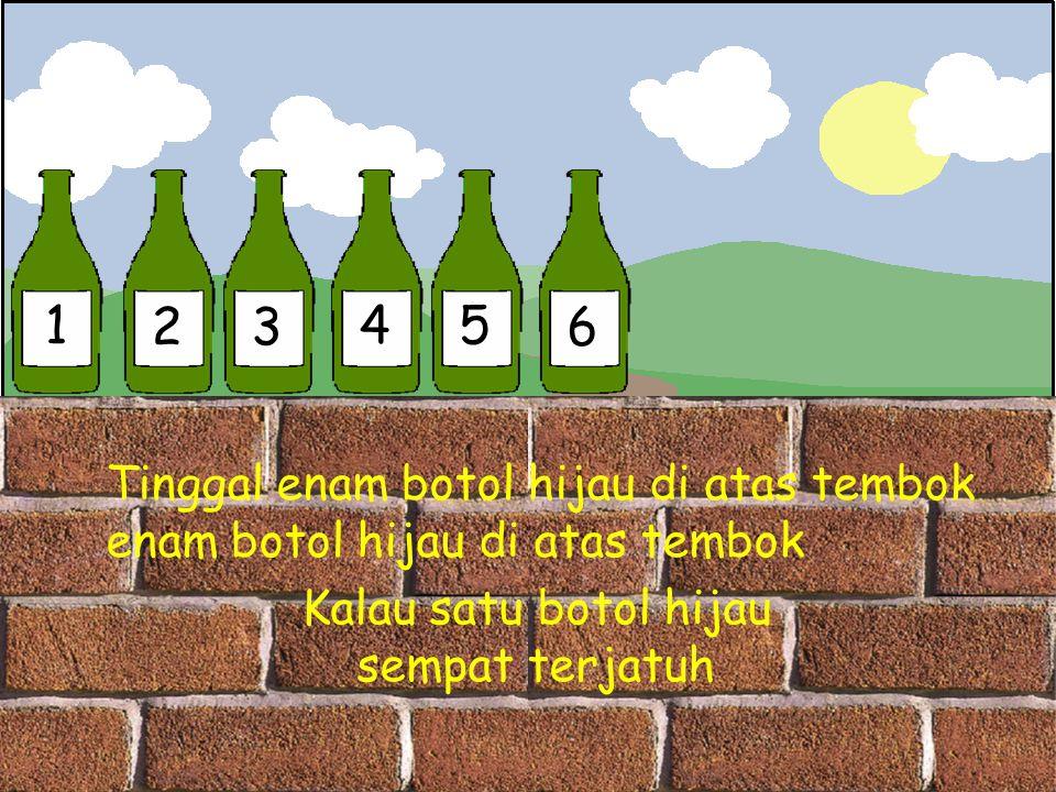 1 2 3 4 5 6 Tinggal enam botol hijau di atas tembok