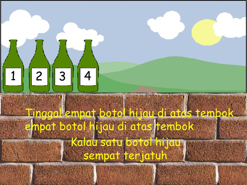 1 2 3 4 Tinggal empat botol hijau di atas tembok
