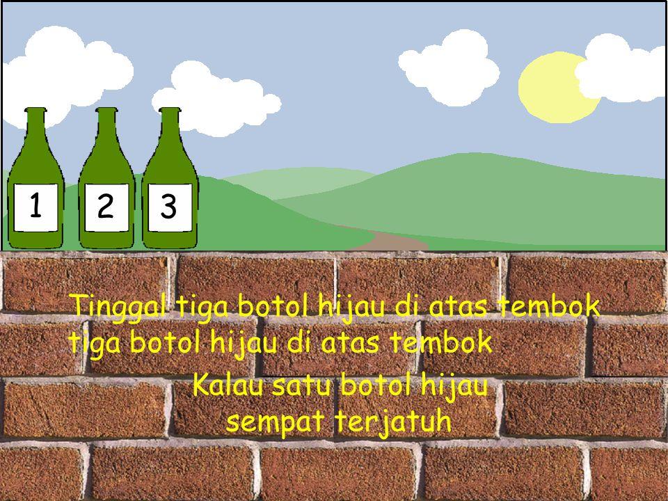 1 2 3 Tinggal tiga botol hijau di atas tembok