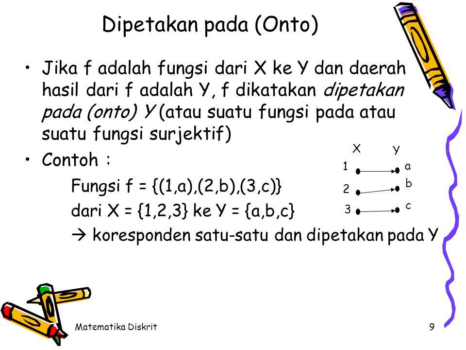 Bijeksi (Bijection) Sebuah fungsi yang baik satu-satu maupun pada disebut bijeksi (bijection) Contoh :
