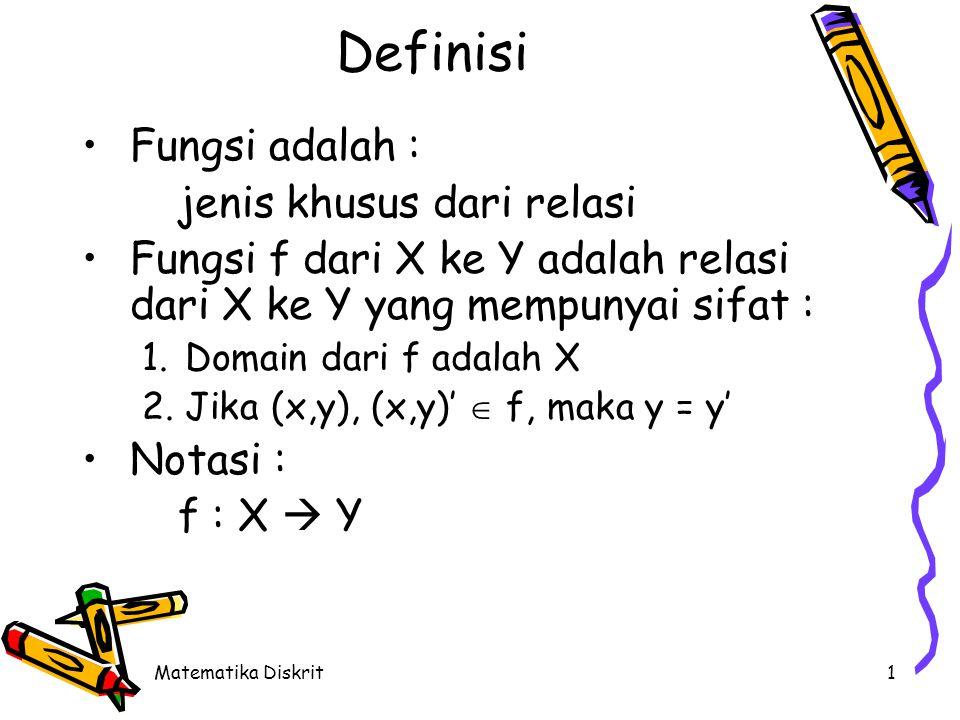 Definisi (Cont.) Domain dari f adalah X