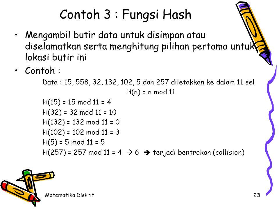 Fungsi Hash (Cont.) Solusi terjadi bentrokan (collision) diperlukan kebijaksanaan resolusi bentrokan (collision resolution policy) :