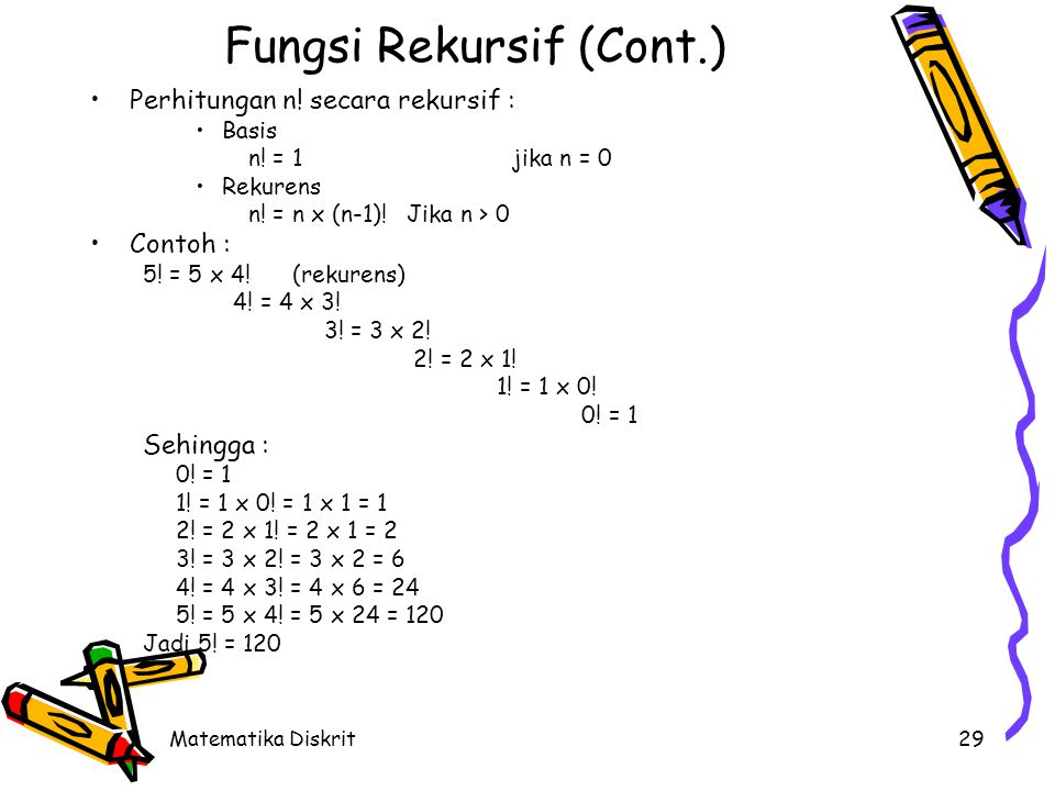 Contoh Misalkan n menyatakan bilangan bulat positif dan fungsi f didefinisikan secara rekursif : Tentukan :