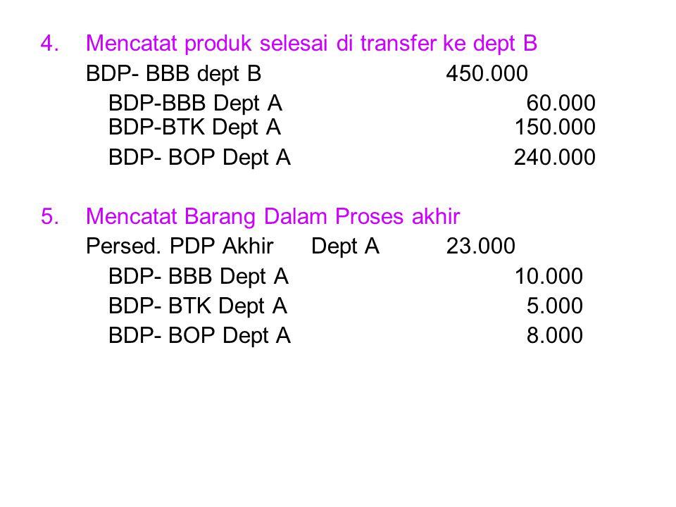 Mencatat produk selesai di transfer ke dept B
