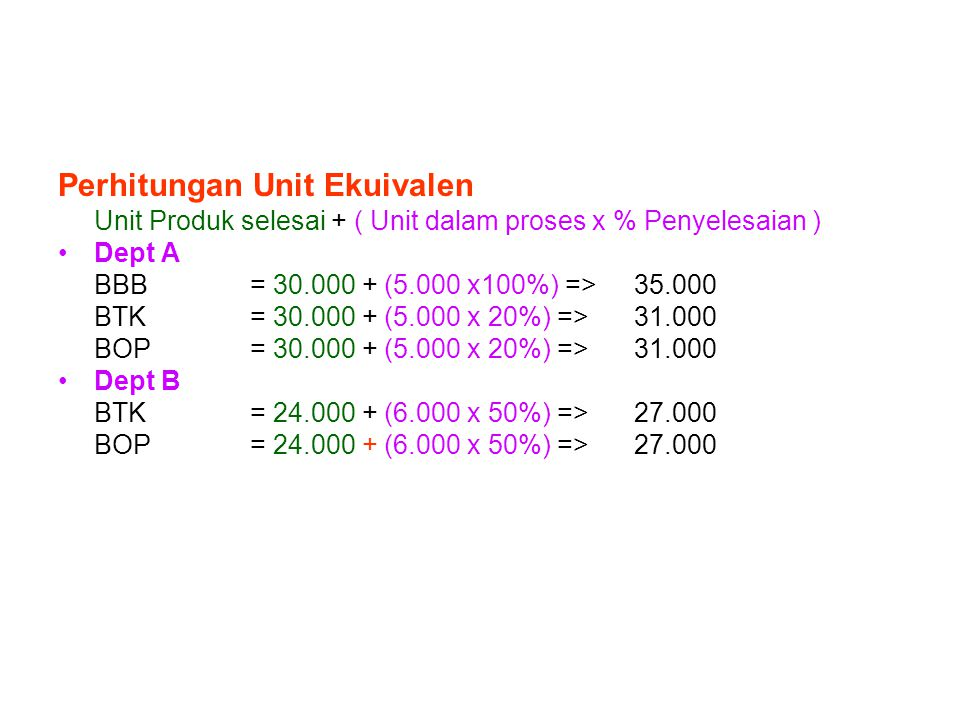 Perhitungan Unit Ekuivalen