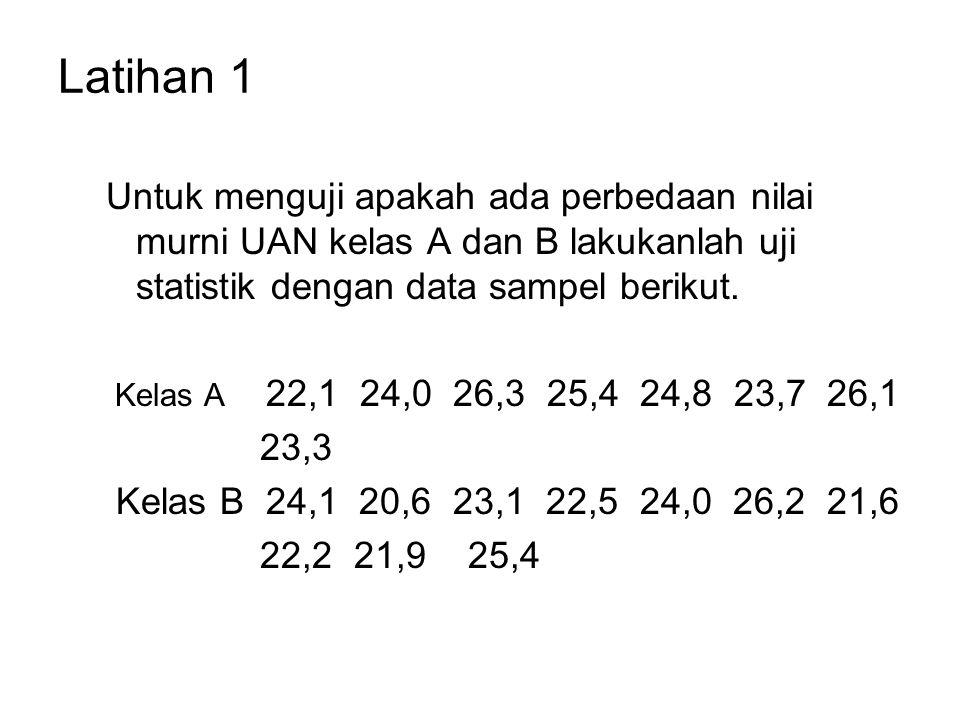 Latihan 1 Untuk menguji apakah ada perbedaan nilai murni UAN kelas A dan B lakukanlah uji statistik dengan data sampel berikut.