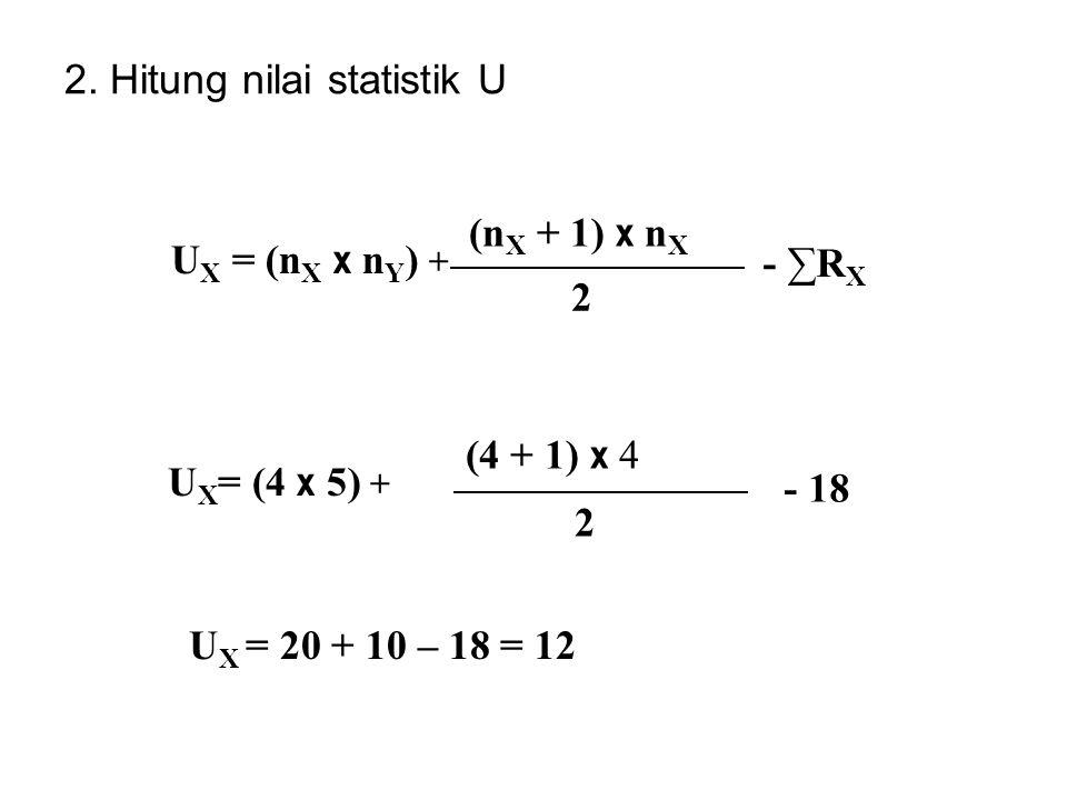 2. Hitung nilai statistik U