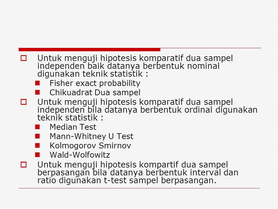 Untuk menguji hipotesis komparatif dua sampel independen baik datanya berbentuk nominal digunakan teknik statistik :