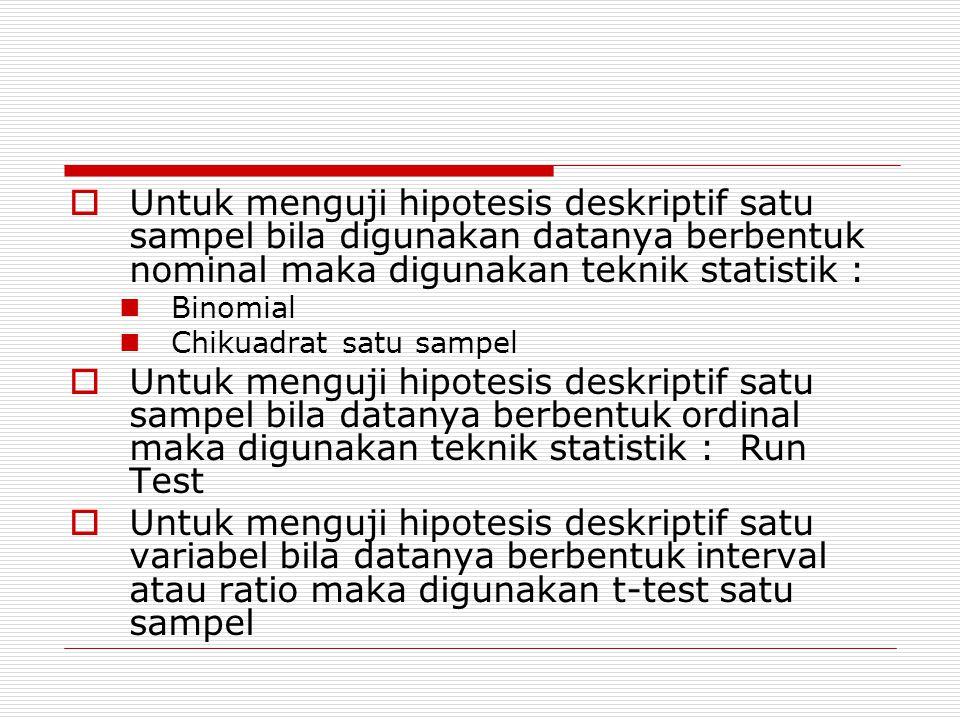 Untuk menguji hipotesis deskriptif satu sampel bila digunakan datanya berbentuk nominal maka digunakan teknik statistik :