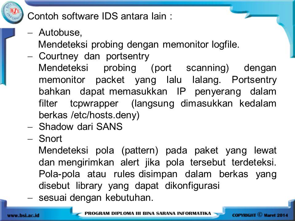Contoh software IDS antara lain :
