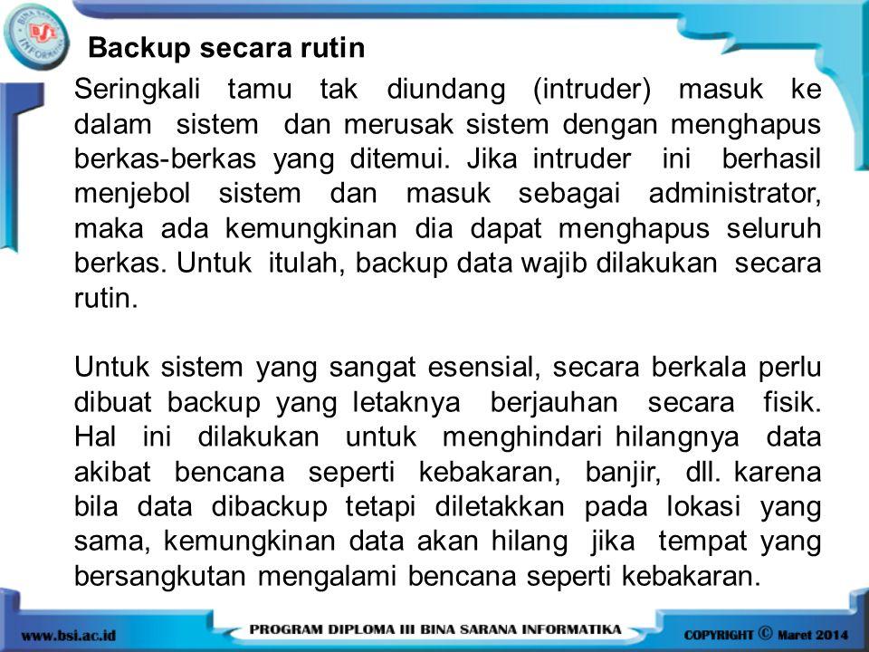Backup secara rutin
