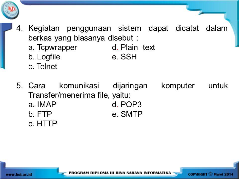 4. Kegiatan penggunaan sistem dapat dicatat dalam berkas yang biasanya disebut :