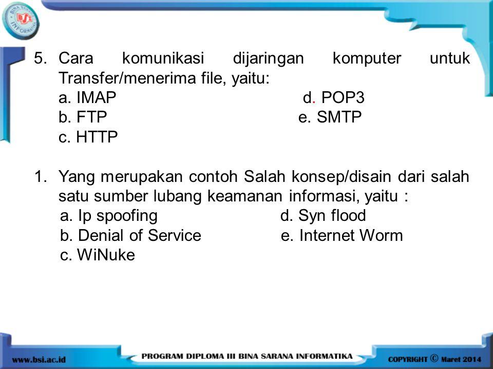 5. Cara komunikasi dijaringan komputer untuk Transfer/menerima file, yaitu: