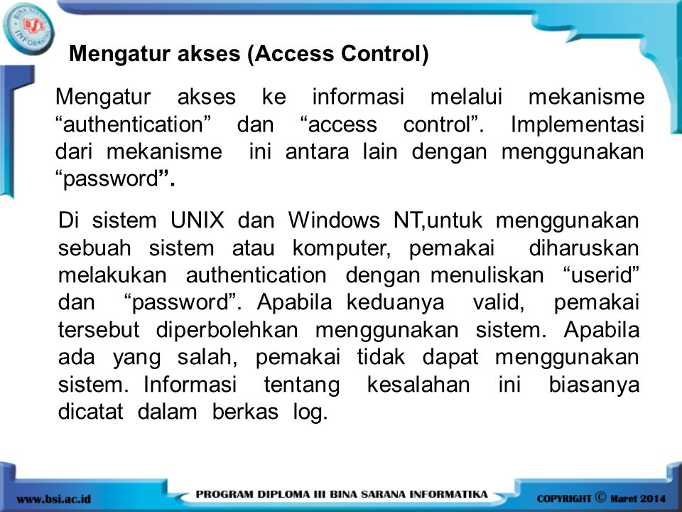 Mengatur akses (Access Control)