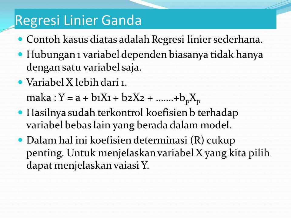 Regresi Linier Ganda Contoh kasus diatas adalah Regresi linier sederhana.