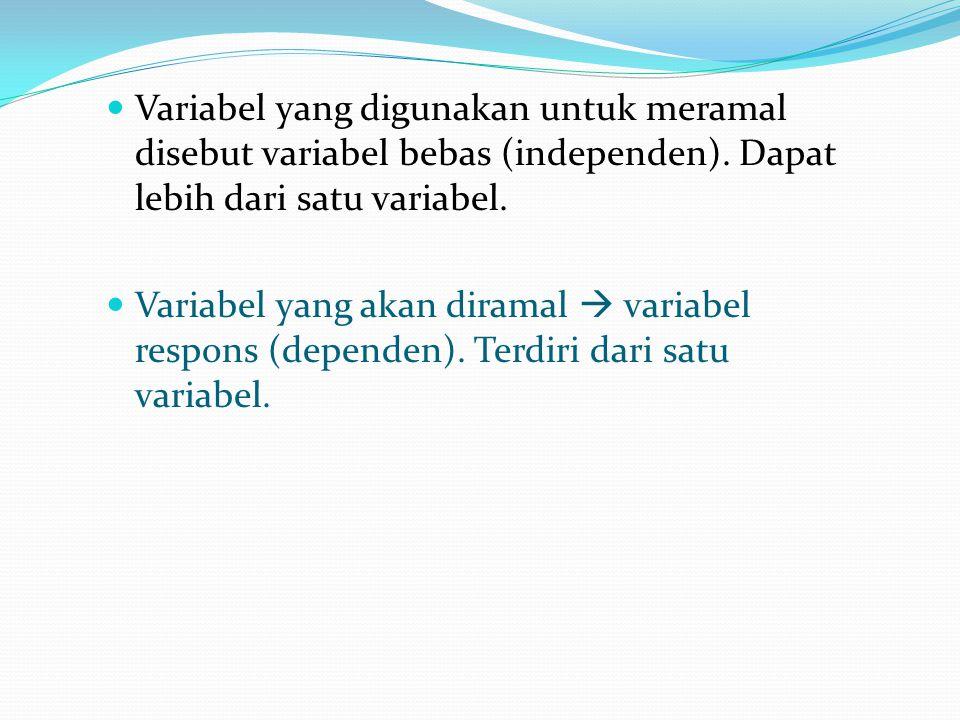 Variabel yang digunakan untuk meramal disebut variabel bebas (independen). Dapat lebih dari satu variabel.