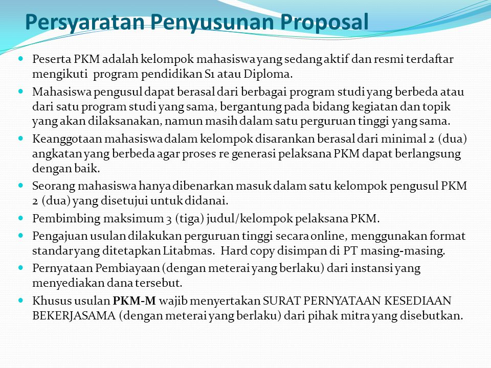 Persyaratan Penyusunan Proposal