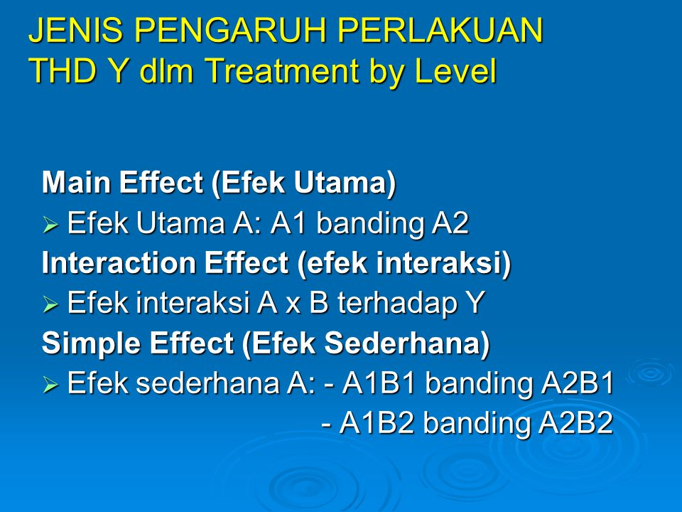 JENIS PENGARUH PERLAKUAN THD Y dlm Treatment by Level
