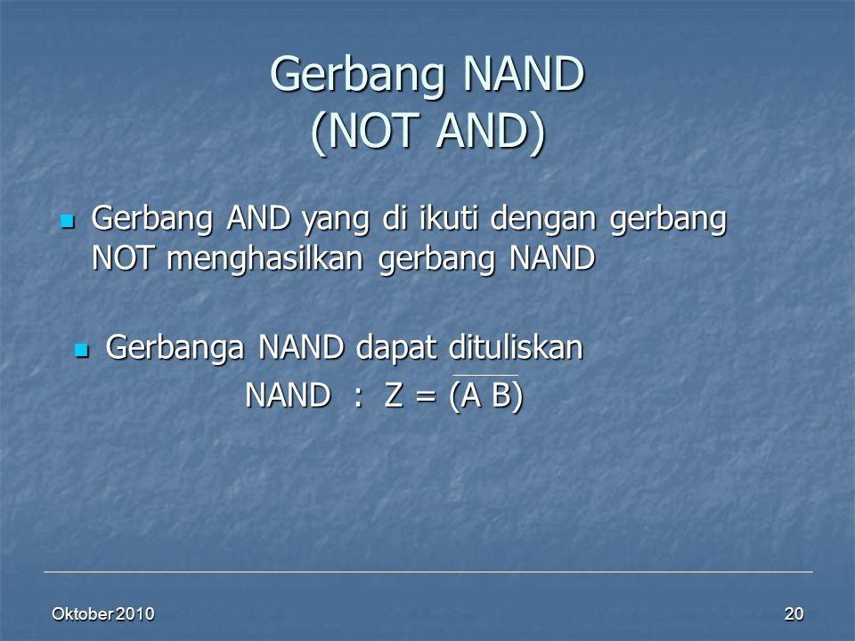 Gerbang NAND (NOT AND) Gerbang AND yang di ikuti dengan gerbang NOT menghasilkan gerbang NAND. Gerbanga NAND dapat dituliskan.