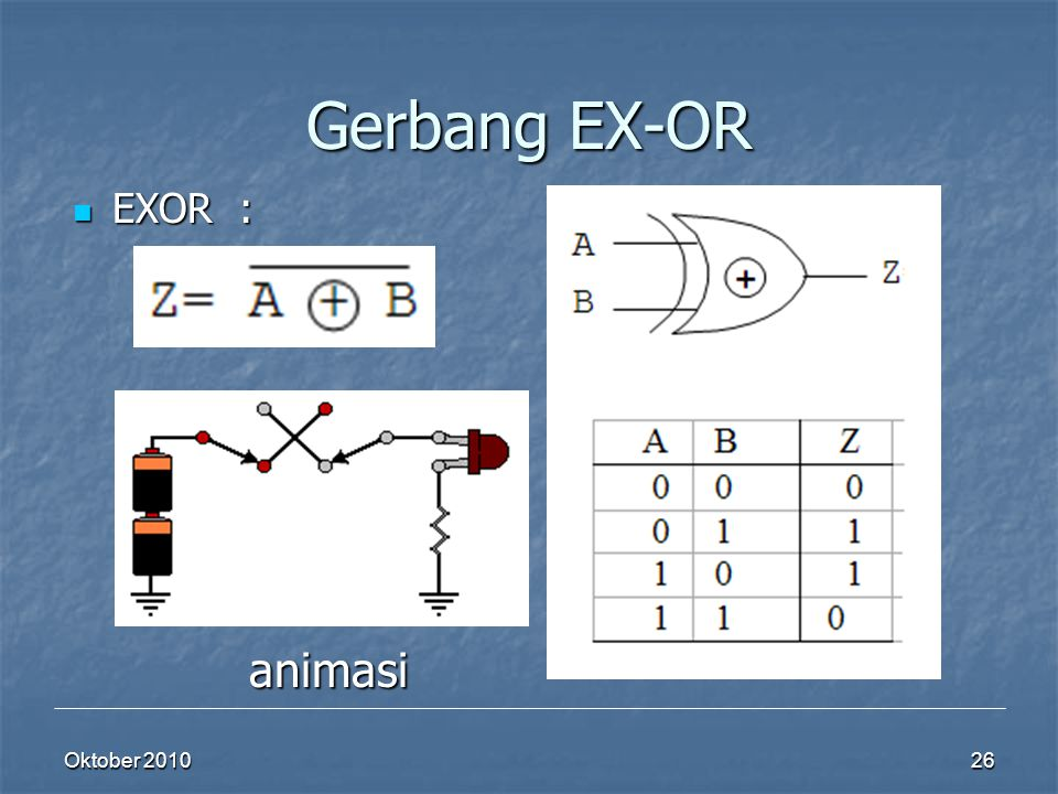 Gerbang EX-OR EXOR : animasi Oktober 2010