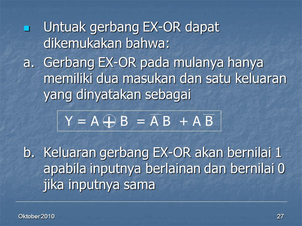+ Untuak gerbang EX-OR dapat dikemukakan bahwa: