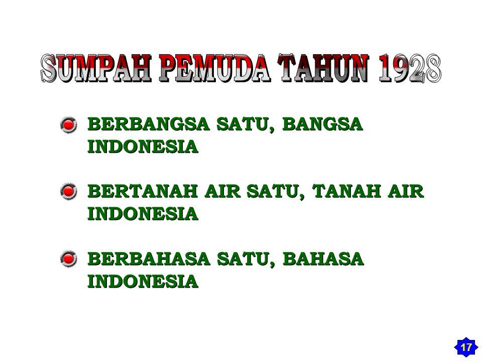 SUMPAH PEMUDA TAHUN 1928 BERBANGSA SATU, BANGSA INDONESIA