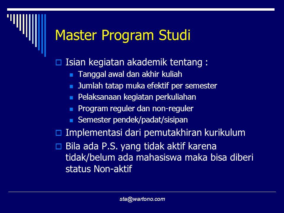 Master Program Studi Isian kegiatan akademik tentang :