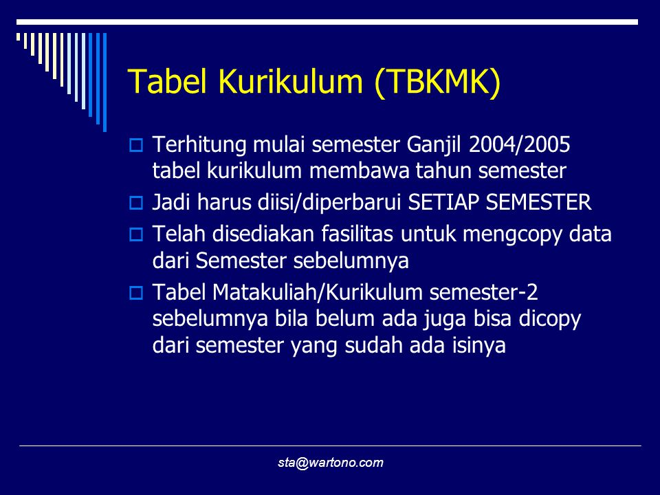 Tabel Kurikulum (TBKMK)