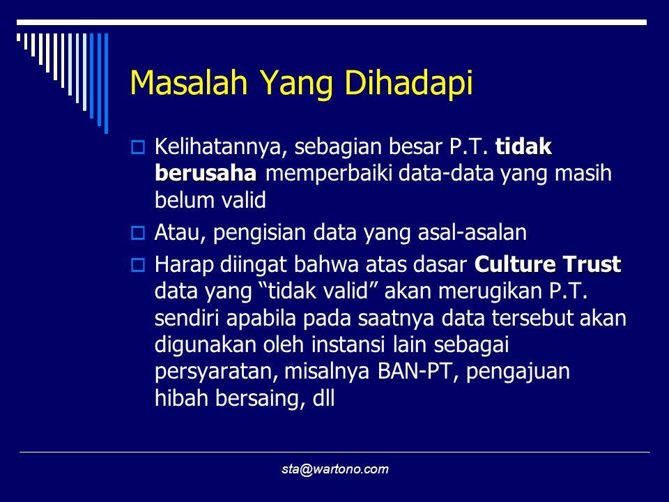 Masalah Yang Dihadapi Kelihatannya, sebagian besar P.T. tidak berusaha memperbaiki data-data yang masih belum valid.