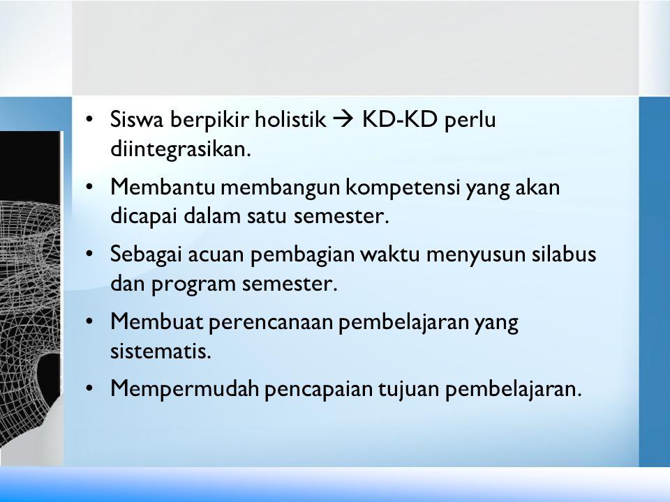 Siswa berpikir holistik  KD-KD perlu diintegrasikan.