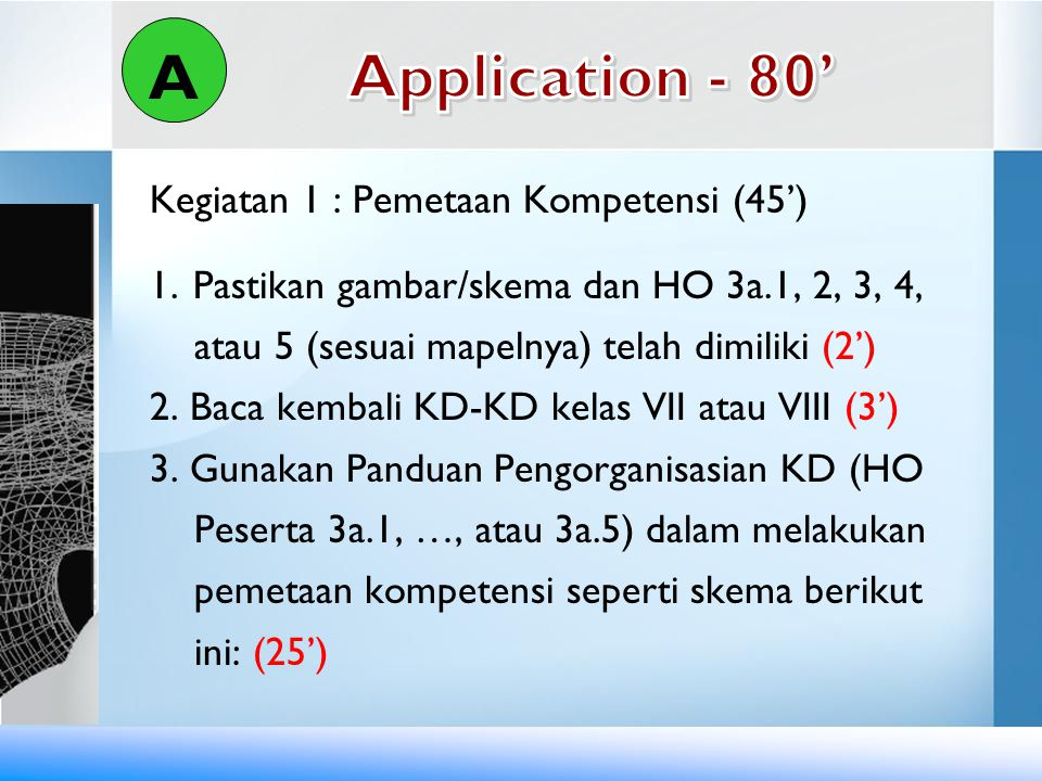 A Application - 80' Kegiatan 1 : Pemetaan Kompetensi (45')