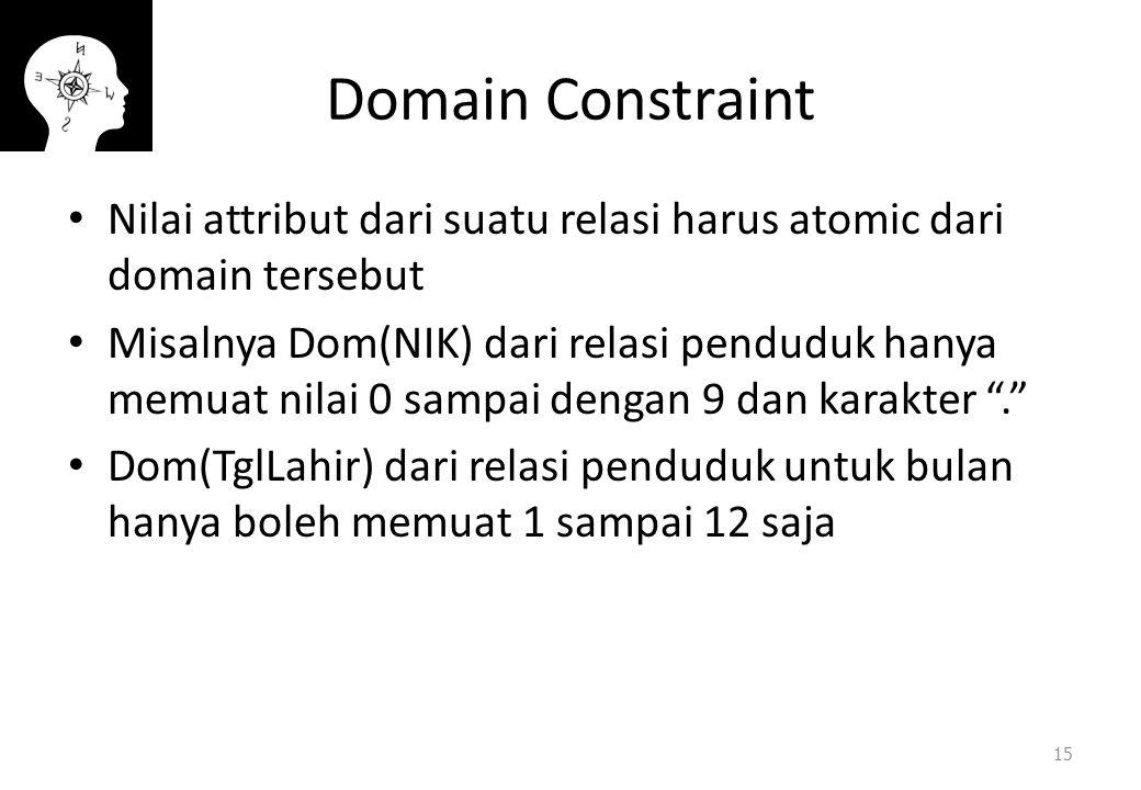 Domain Constraint Nilai attribut dari suatu relasi harus atomic dari domain tersebut.