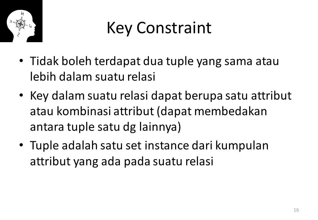 Key Constraint Tidak boleh terdapat dua tuple yang sama atau lebih dalam suatu relasi.