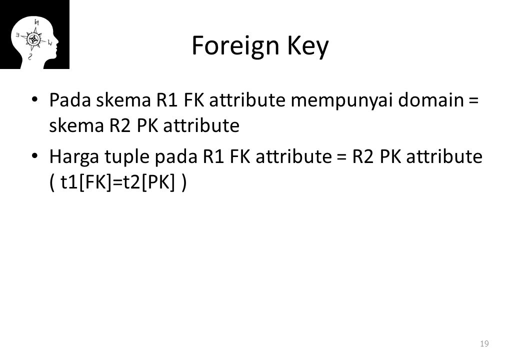 Foreign Key Pada skema R1 FK attribute mempunyai domain = skema R2 PK attribute.