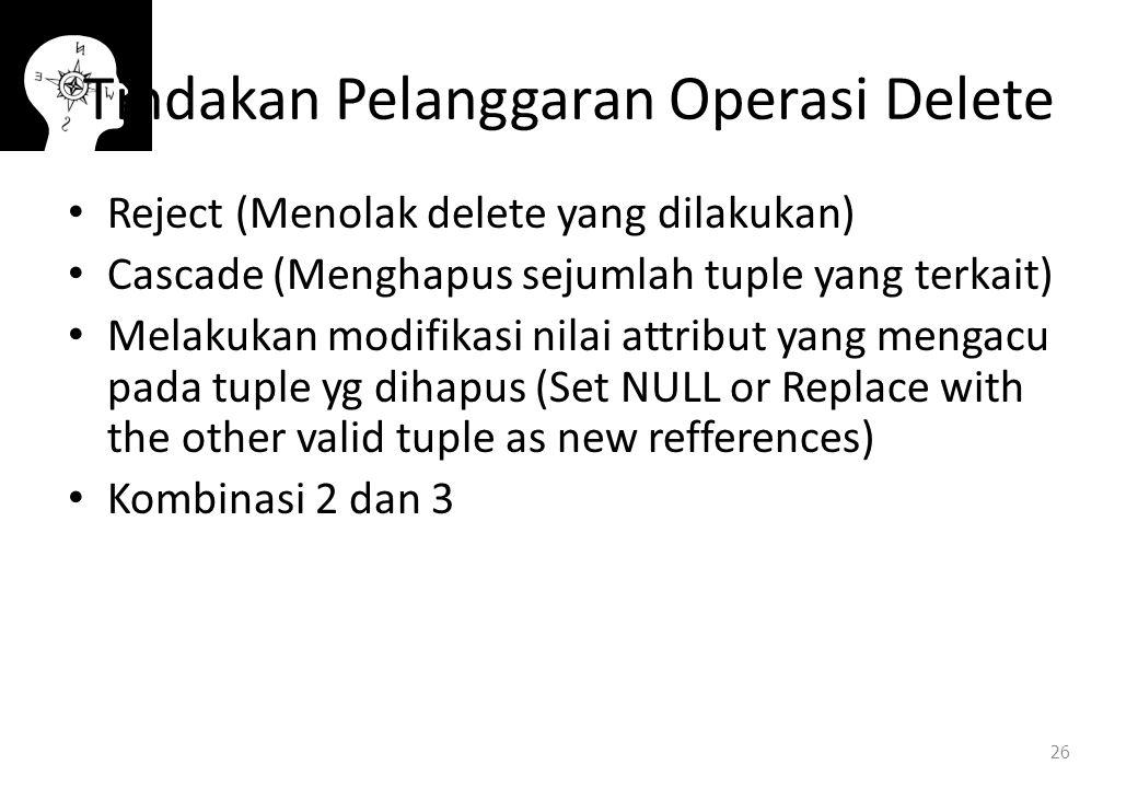 Tindakan Pelanggaran Operasi Delete