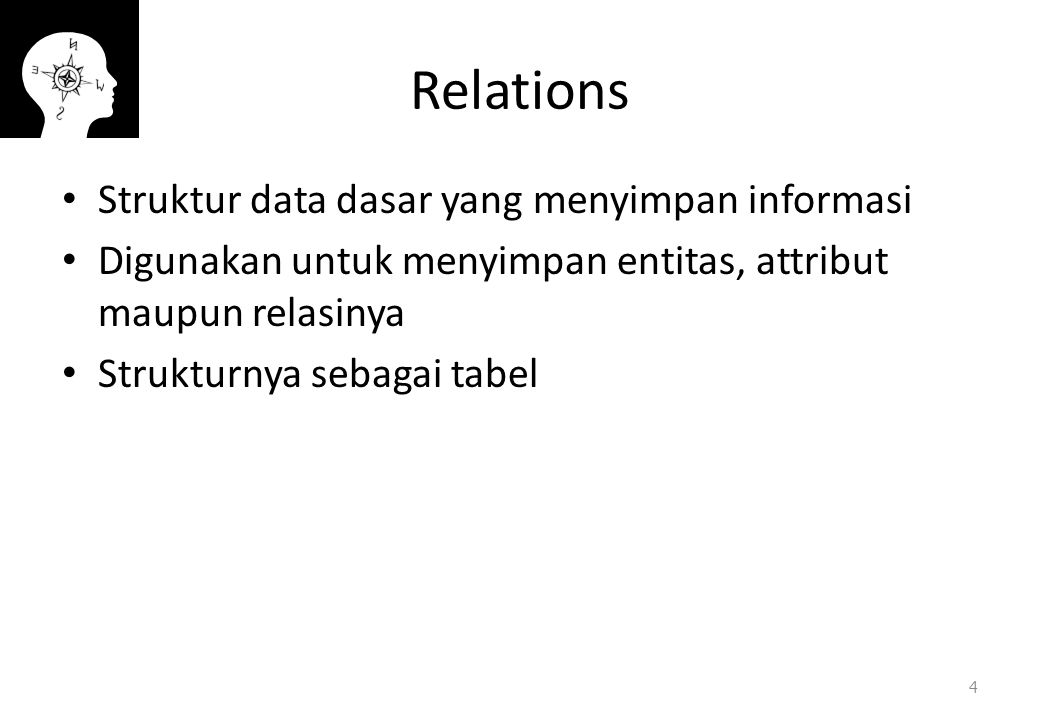 Relations Struktur data dasar yang menyimpan informasi