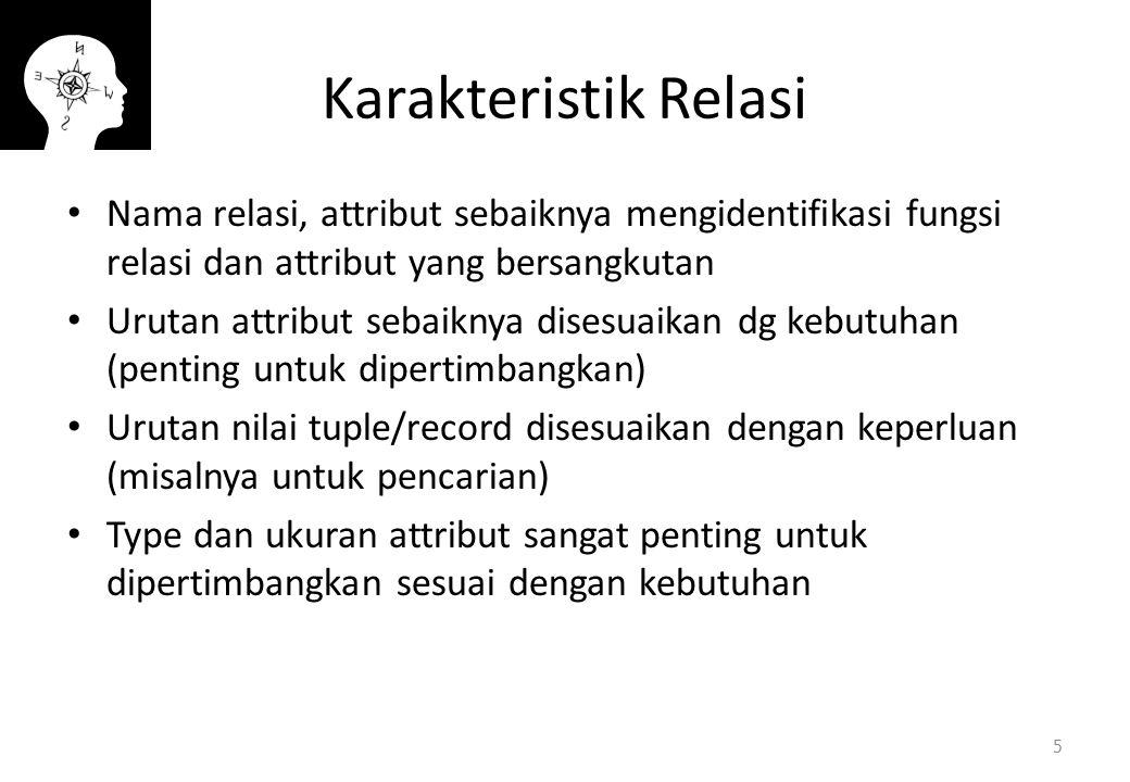 Karakteristik Relasi Nama relasi, attribut sebaiknya mengidentifikasi fungsi relasi dan attribut yang bersangkutan.