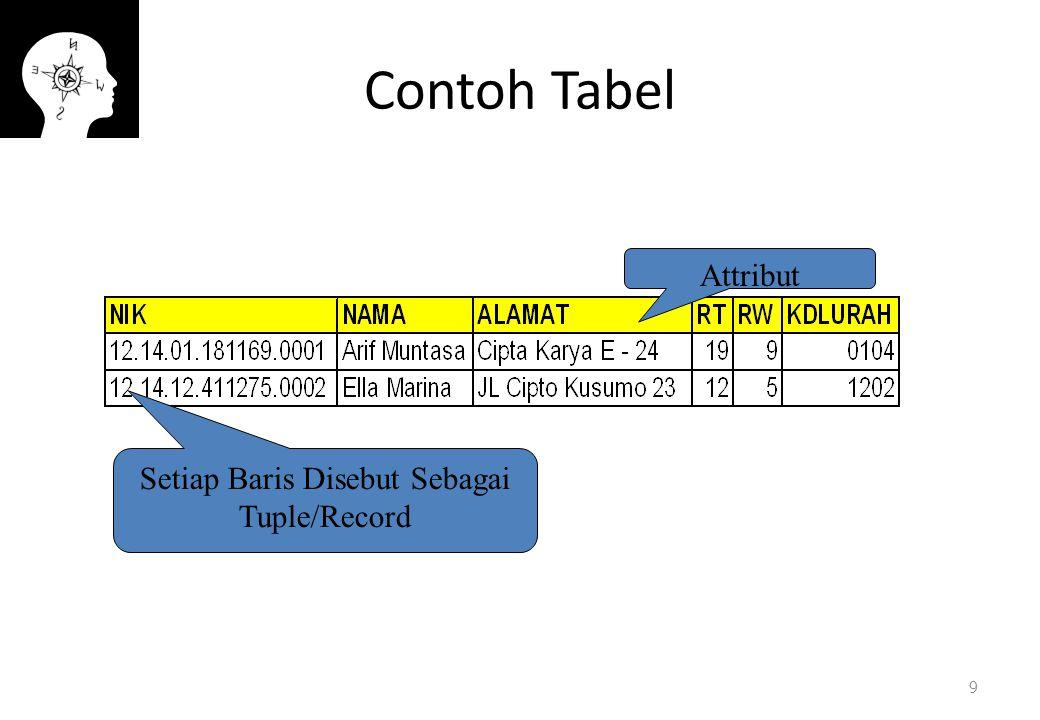 Setiap Baris Disebut Sebagai Tuple/Record