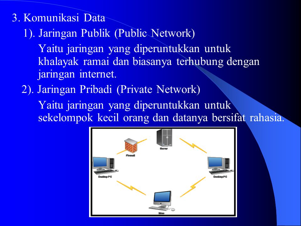 3. Komunikasi Data 1). Jaringan Publik (Public Network)