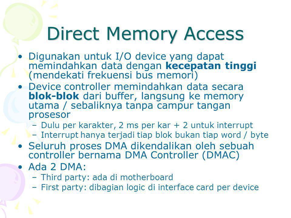 Direct Memory Access Digunakan untuk I/O device yang dapat memindahkan data dengan kecepatan tinggi (mendekati frekuensi bus memori)