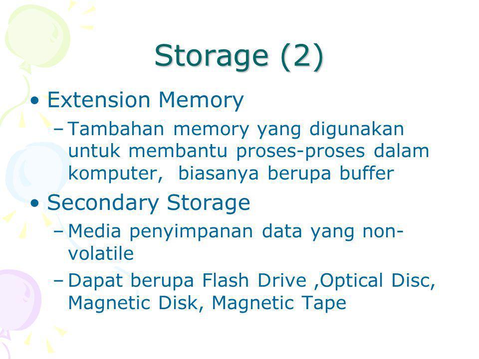 Storage (2) Extension Memory Secondary Storage