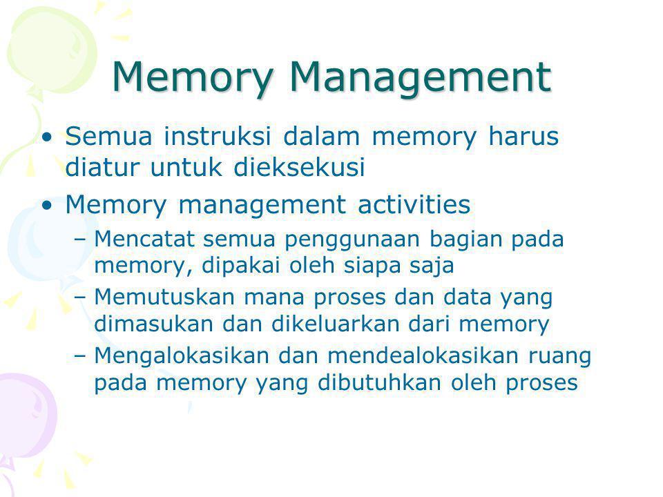 Memory Management Semua instruksi dalam memory harus diatur untuk dieksekusi. Memory management activities.